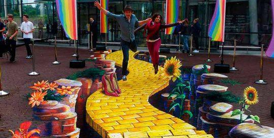 3d-streetpainting-3d-streetart-anamorphic-urban-art-madonnara-anamorfico-arte-chalk-street-artist-adry-del-rocio-ruben-poncia-yellow-road