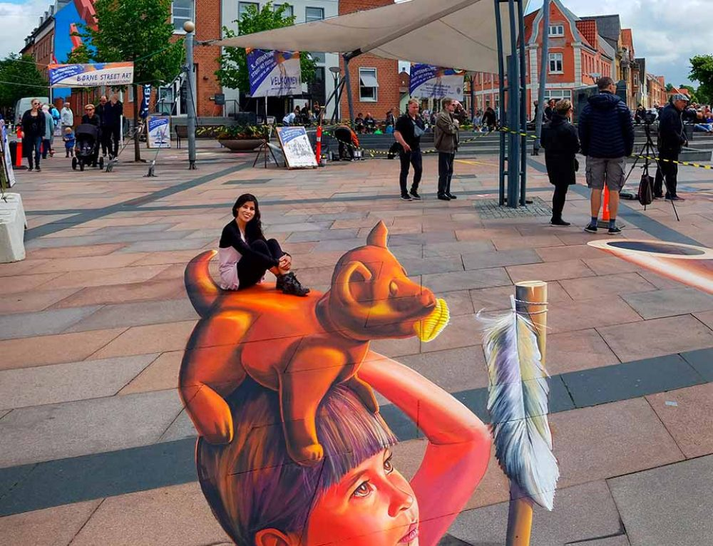 3D Streetpainting at International Street Art Festival Brande, Denmark