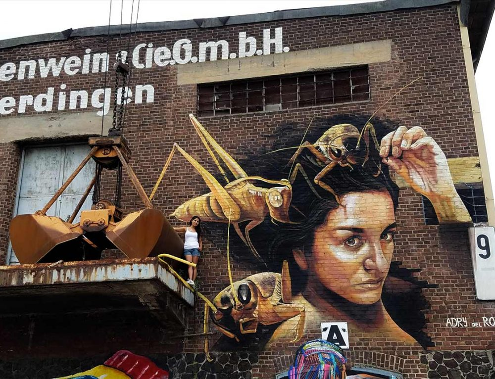 "Mural ""Leap of conscience"" at Rhine Side Gallery, Krefel, Germany"