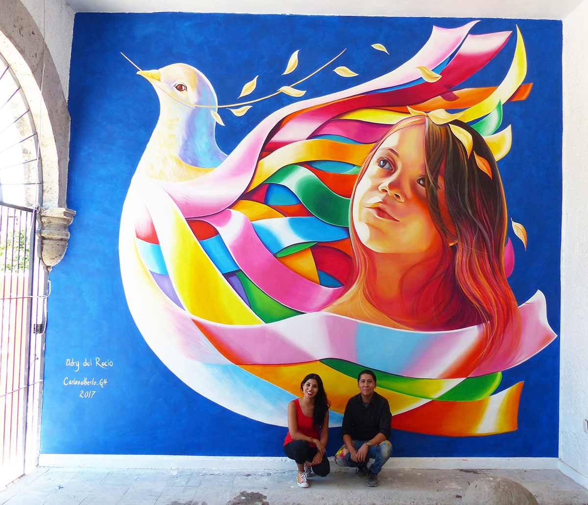 Mural peace laces at festival for peace in ameca for Art mural nivelles