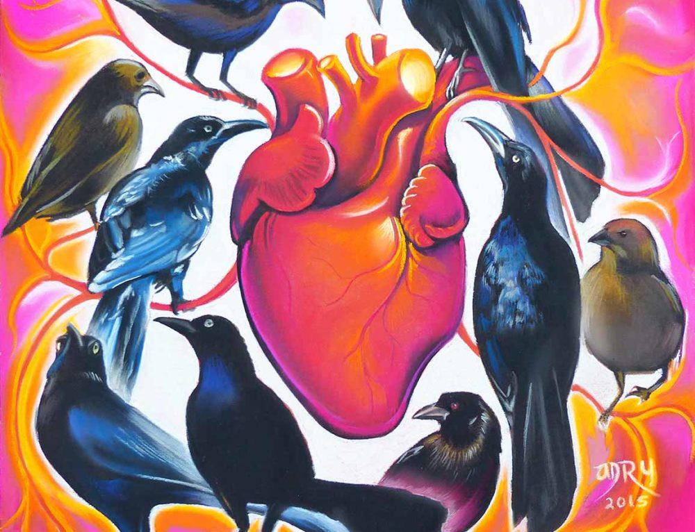 """Pastel Painting """"Corazón de pájaros"""""""