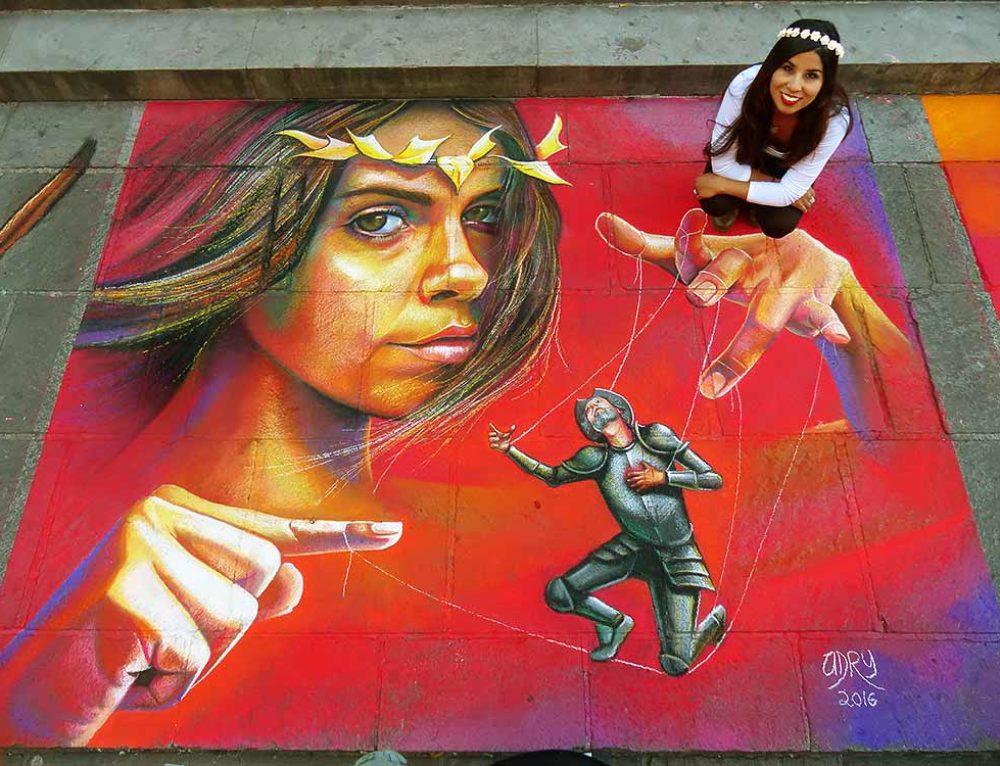 2D Streetpainting at Guanajuato Madonnari Festival in Guanajuato, Mexico