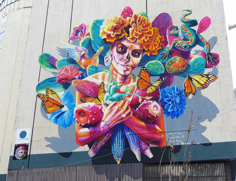 """Mural """"Tree of life"""" at La Catrina Fest in Ciudad de México"""