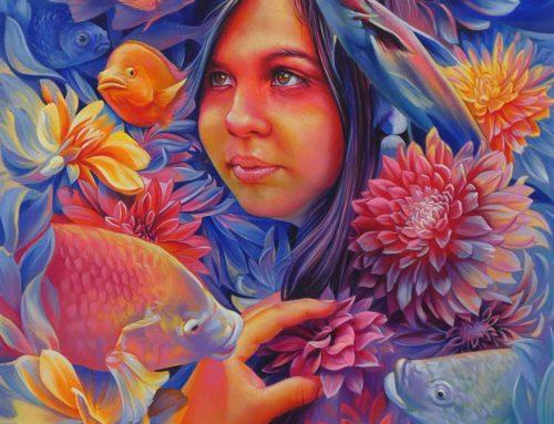 "Acrylic Painting ""The rebirth of Chalchiuhtlicue"""